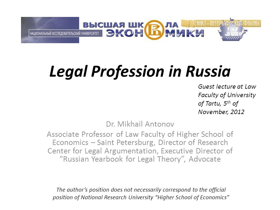 Legal Profession in Russia Dr.