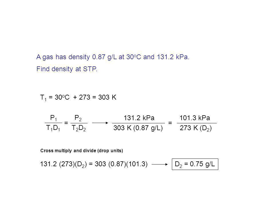A sample of gas has density 0.0021 g/cm 3 at –18 o C and 812 mm Hg. Find density at 113 o C and 548 mm Hg. T 1 = –18 o C + 273 = 255 K T 2 = 113 o C+