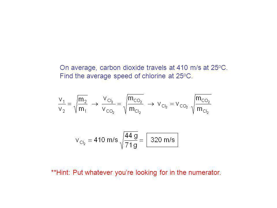Grahams Law Consider two gases at same temp. Gas 1: KE 1 = ½ m 1 v 1 2 Gas 2: KE 2 = ½ m 2 v 2 2 Since temp. is same, then… KE 1 = KE 2 ½ m 1 v 1 2 =