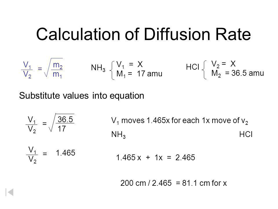 Calculation of Diffusion Rate NH 3 V 1 = X M 1 = 17 amu HCl V 2 = X M 2 = 36.5 amu Substitute values into equation V 1 moves 1.465x for each 1x move o