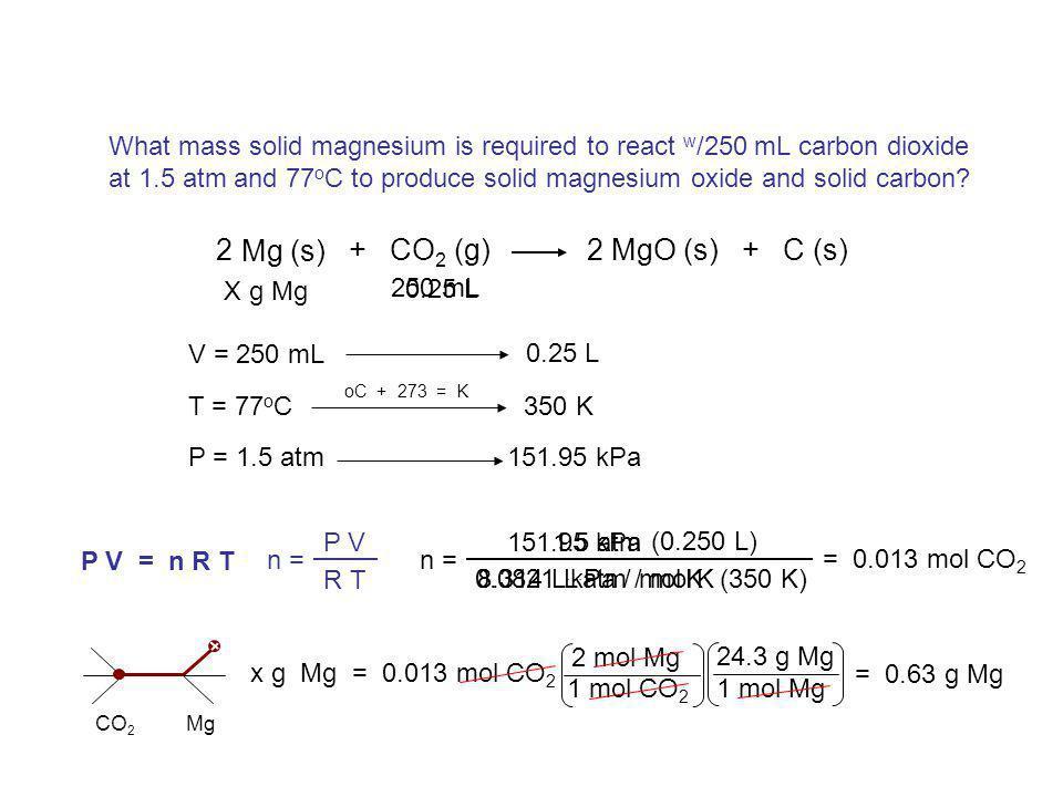 P 2 x V 2 T 2 Find vol. hydrogen gas made when 38.2 g zinc react w /excess hydrochloric acid. Pres. = 107.3 kPa; temp.= 88 o C. Gas Stoichiometry 16.3