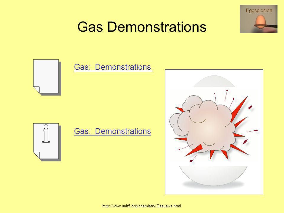 Gas Demonstrations Gas: Demonstrations Effect of Temperature on Volume of a Gas VIDEO Air Pressure Crushes a Popcan VIDEO Air Pressure Inside a Balloo