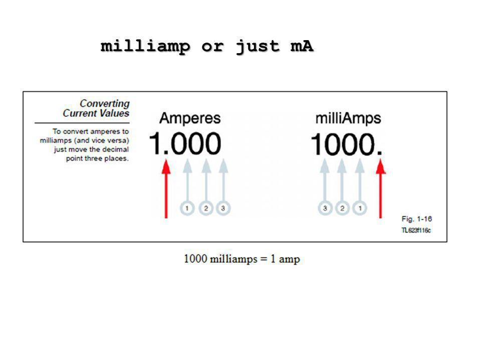 milliamp or just mA