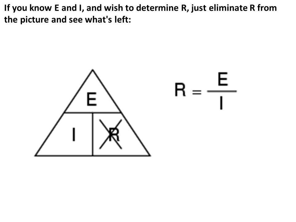 If you know E and I, and wish to determine R, just eliminate R from the picture and see what's left: