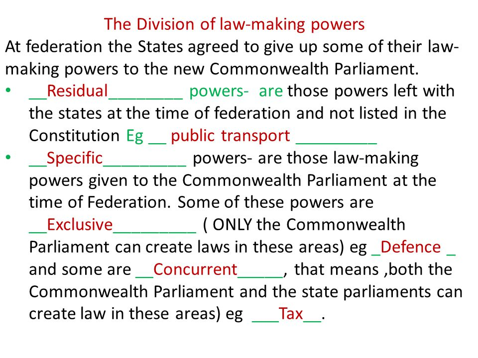 S 51 of the Constitution lists the Specific Powers of the Commonwealth Parliaments p 92-93 text