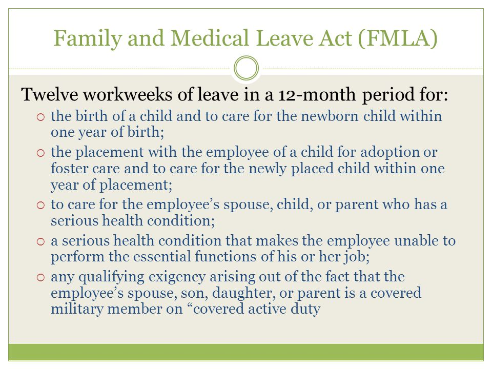 Differences between FMLA and VPFLA Federal LawVT Law Short term leave available.