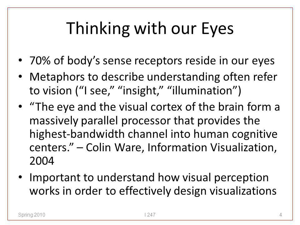 Thinking with our Eyes 70% of bodys sense receptors reside in our eyes Metaphors to describe understanding often refer to vision (I see, insight, illumination) The eye and the visual cortex of the brain form a massively parallel processor that provides the highest-bandwidth channel into human cognitive centers.
