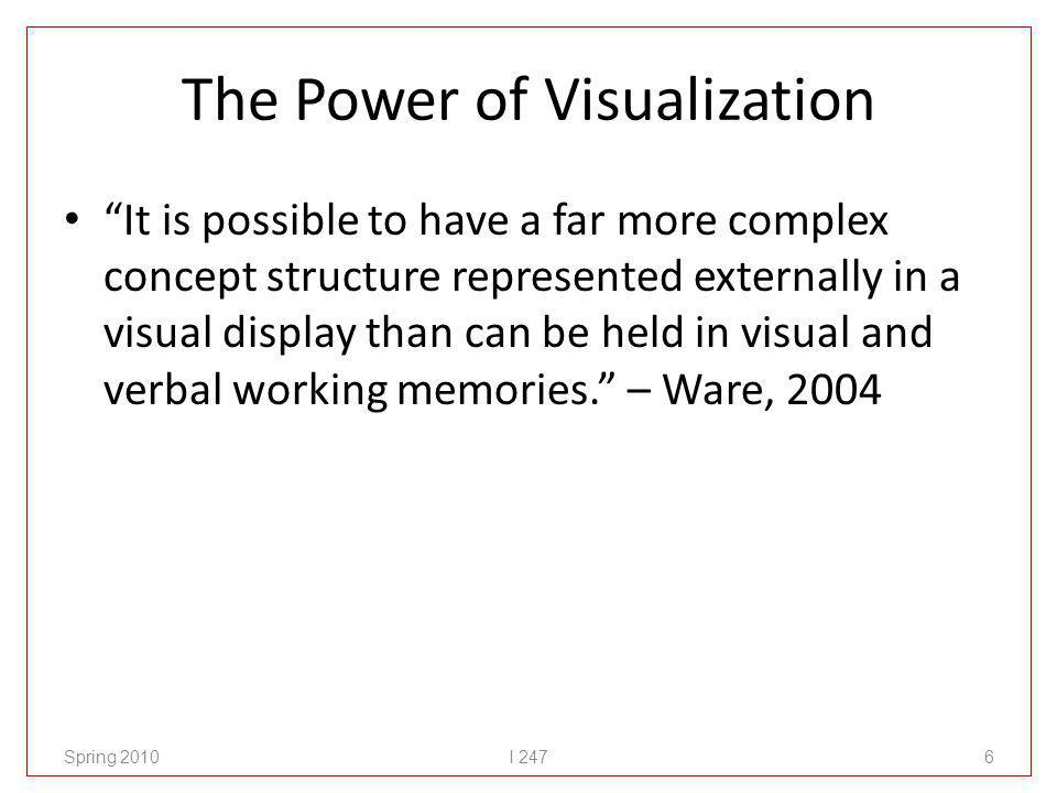 The Power of Visualization It is possible to have a far more complex concept structure represented externally in a visual display than can be held in