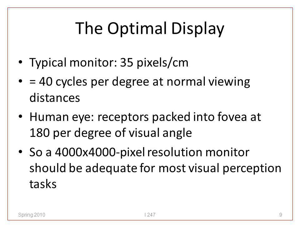 Optimal spatial resolution Humans can resolve a grating of 50 cycles per degree (~44 pixels per cm) Sampling theory (Nyquist) states: need to sample at twice the highest frequency needed to detect So… why is 150 pixels per degree not sufficient (cf.