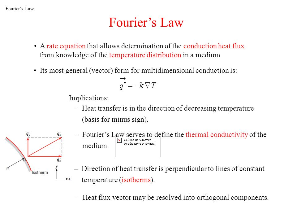 Fouriers Law A rate equation that allows determination of the conduction heat flux from knowledge of the temperature distribution in a medium Fouriers Law Its most general (vector) form for multidimensional conduction is: Implications: – Heat transfer is in the direction of decreasing temperature (basis for minus sign).