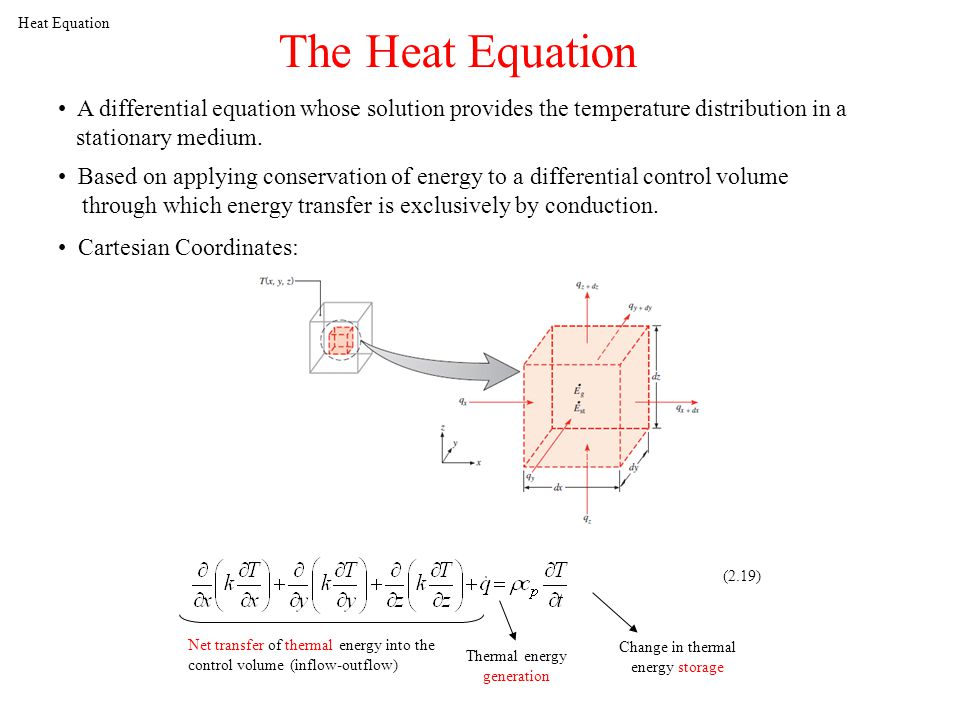 Heat Equation The Heat Equation A differential equation whose solution provides the temperature distribution in a stationary medium.