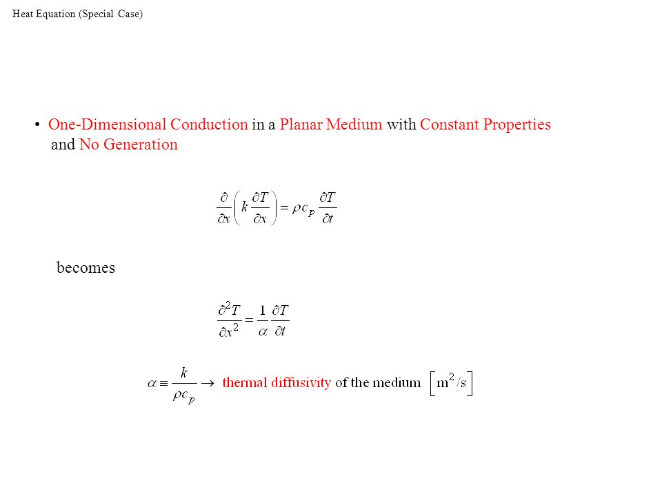 Heat Equation (Special Case) One-Dimensional Conduction in a Planar Medium with Constant Properties and No Generation becomes