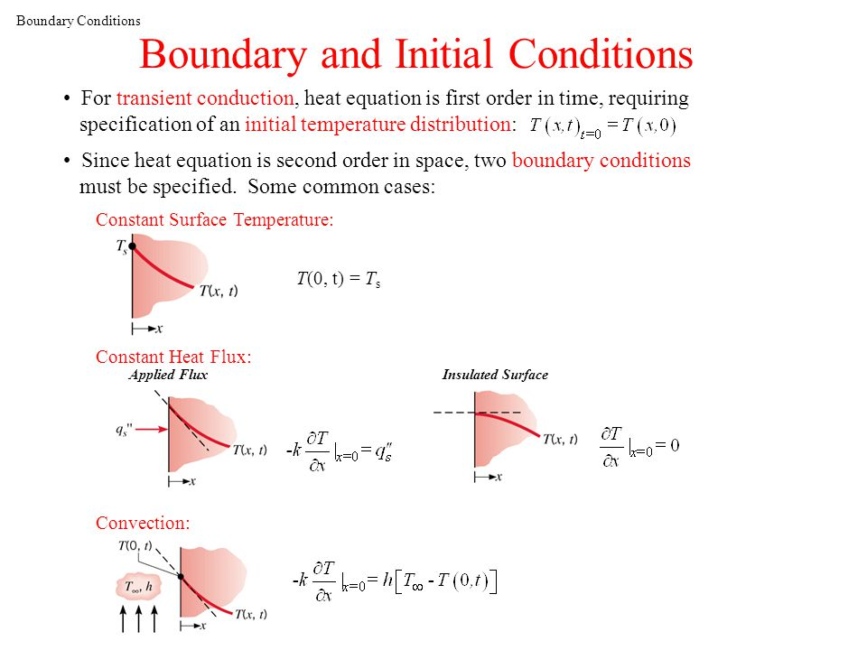Boundary Conditions Boundary and Initial Conditions For transient conduction, heat equation is first order in time, requiring specification of an initial temperature distribution: Since heat equation is second order in space, two boundary conditions must be specified.