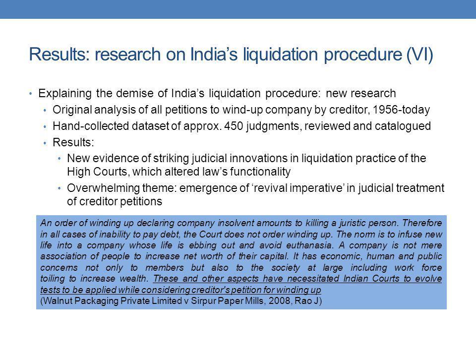 Results: research on Indias liquidation procedure (VI) Explaining the demise of Indias liquidation procedure: new research Original analysis of all pe