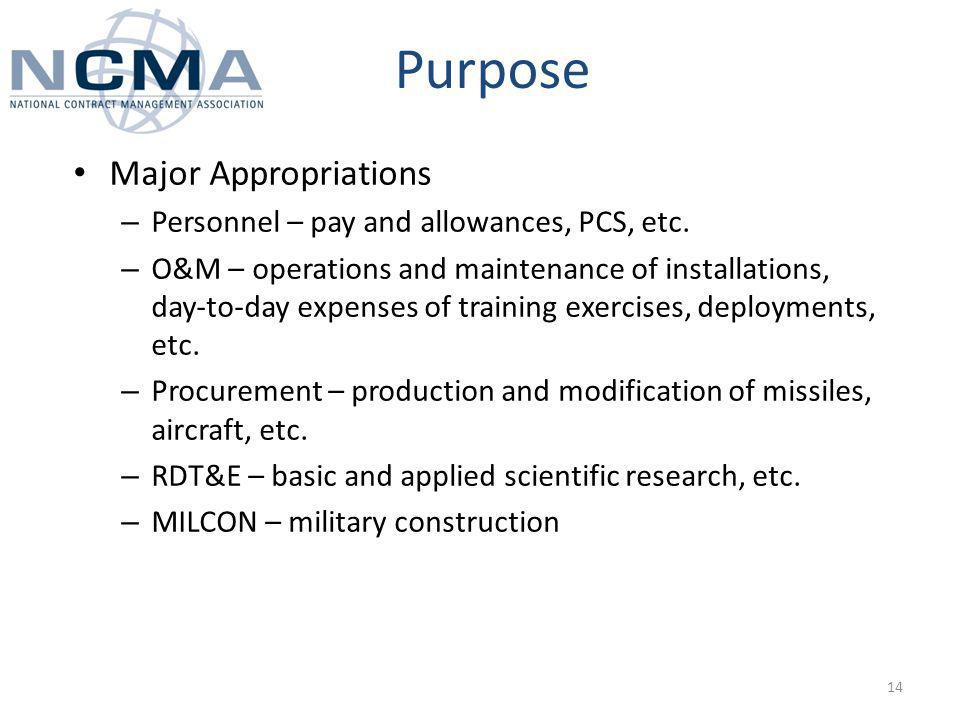 Purpose Major Appropriations – Personnel – pay and allowances, PCS, etc.