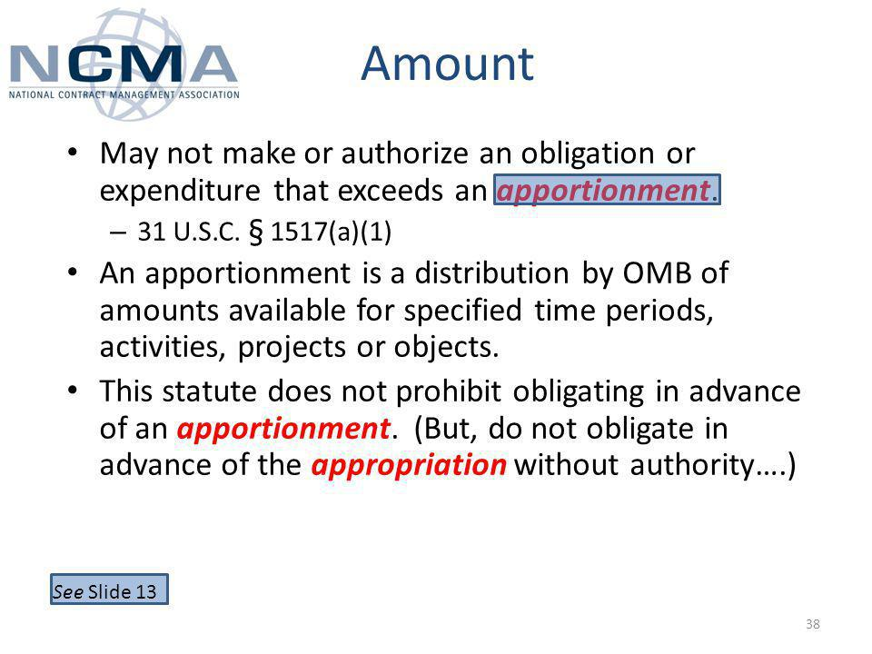 Amount May not make or authorize an obligation or expenditure that exceeds an apportionment.