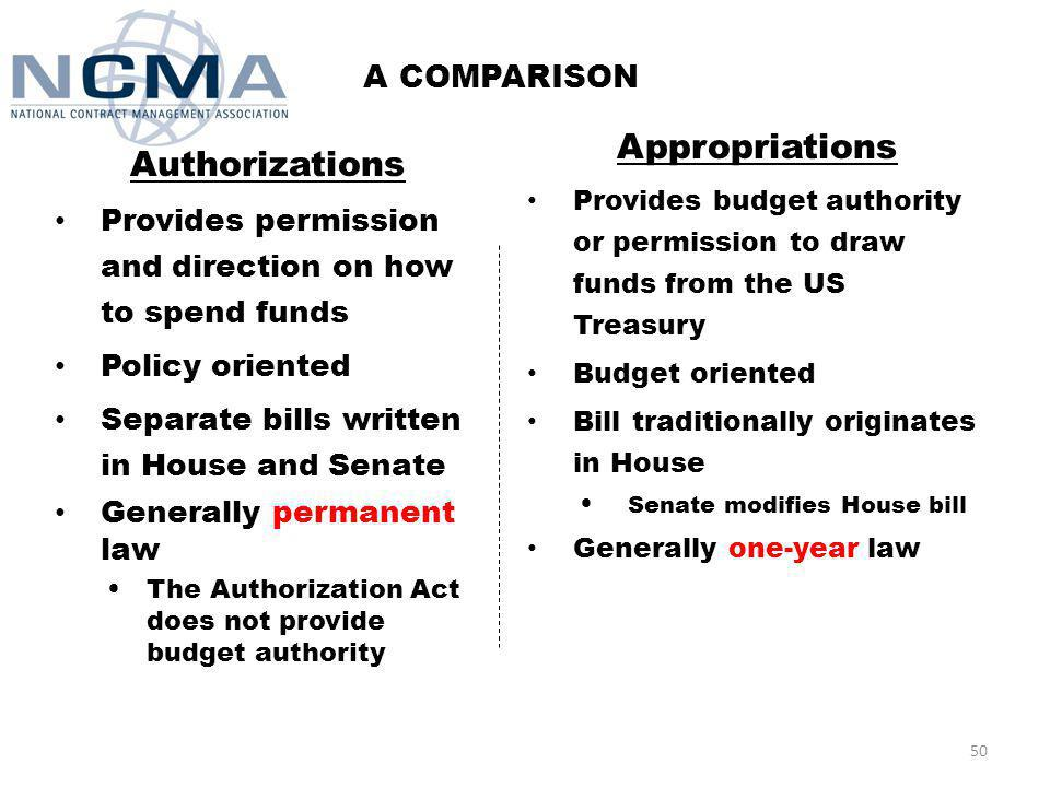 A COMPARISON Authorizations Provides permission and direction on how to spend funds Policy oriented Separate bills written in House and Senate Generally permanent law The Authorization Act does not provide budget authority Appropriations Provides budget authority or permission to draw funds from the US Treasury Budget oriented Bill traditionally originates in House Senate modifies House bill Generally one-year law 50