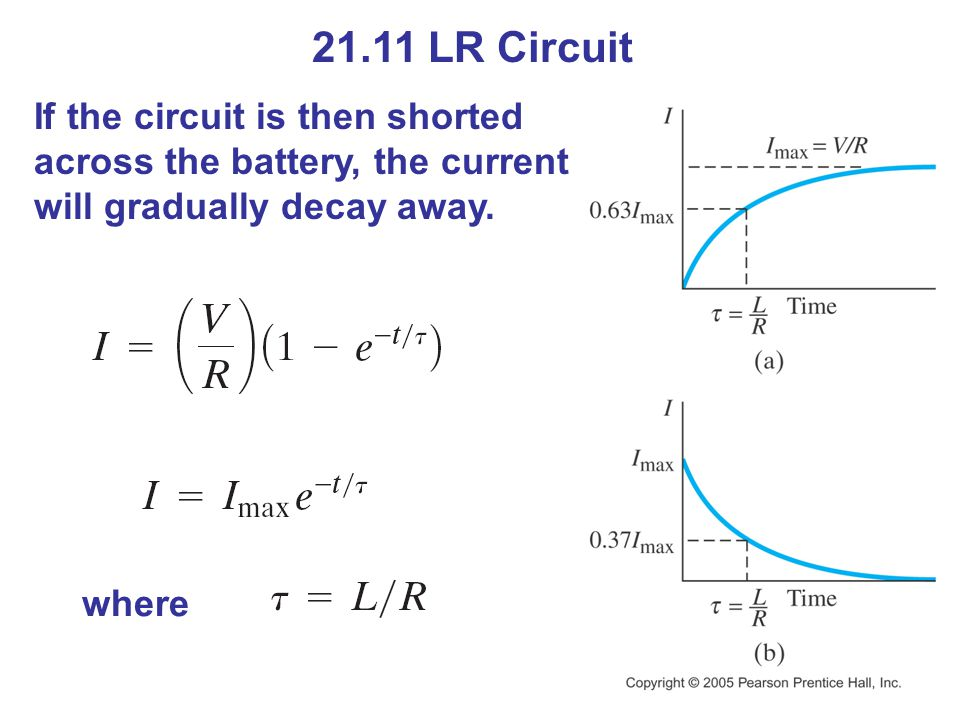 21.11 LR Circuit If the circuit is then shorted across the battery, the current will gradually decay away. where