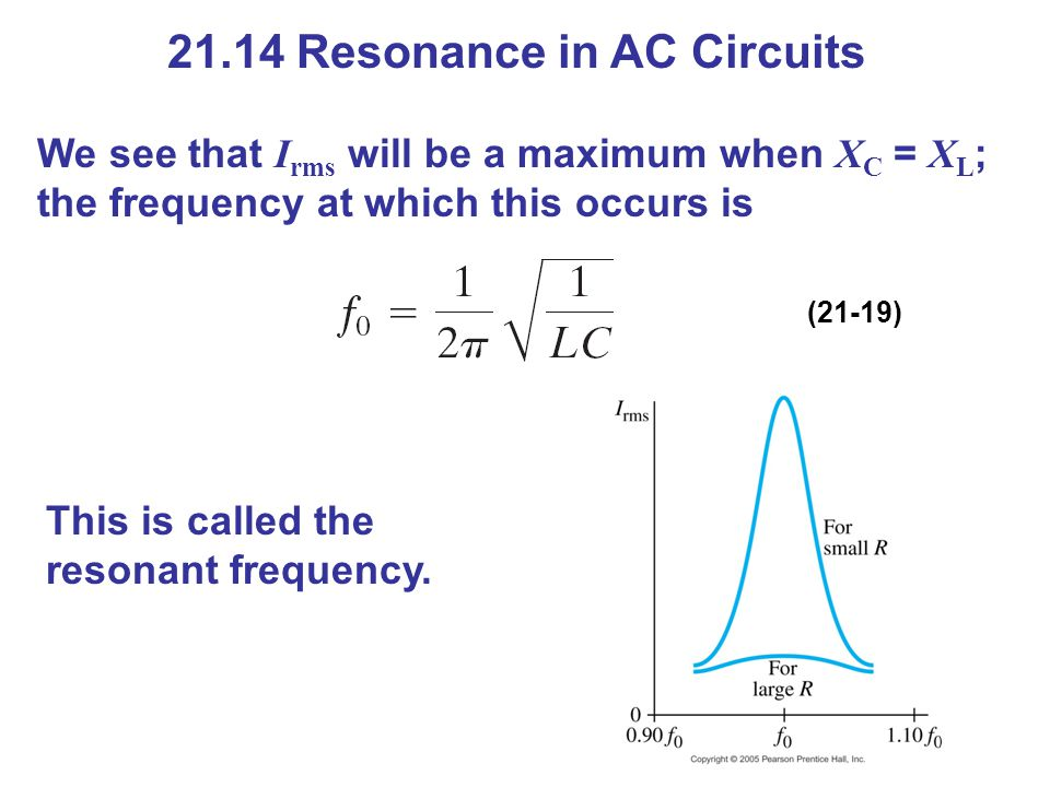 21.14 Resonance in AC Circuits We see that I rms will be a maximum when X C = X L ; the frequency at which this occurs is (21-19) This is called the r