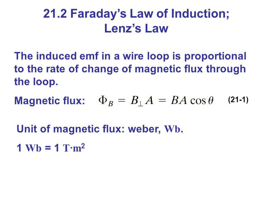 21.4 Changing Magnetic Flux Produces an Electric Field A changing magnetic flux induces an electric field; this is a generalization of Faradays law.