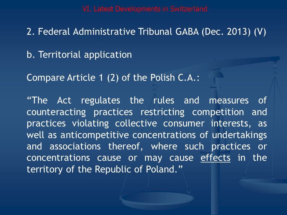 2.Federal Administrative Tribunal GABA (Dec. 2013) (V) b.