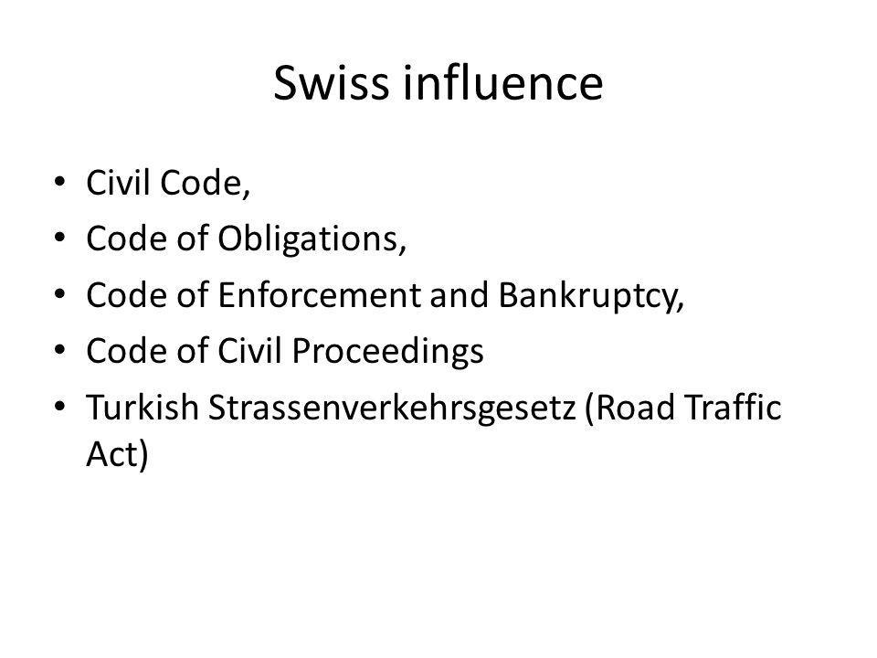 Swiss influence Civil Code, Code of Obligations, Code of Enforcement and Bankruptcy, Code of Civil Proceedings Turkish Strassenverkehrsgesetz (Road Tr