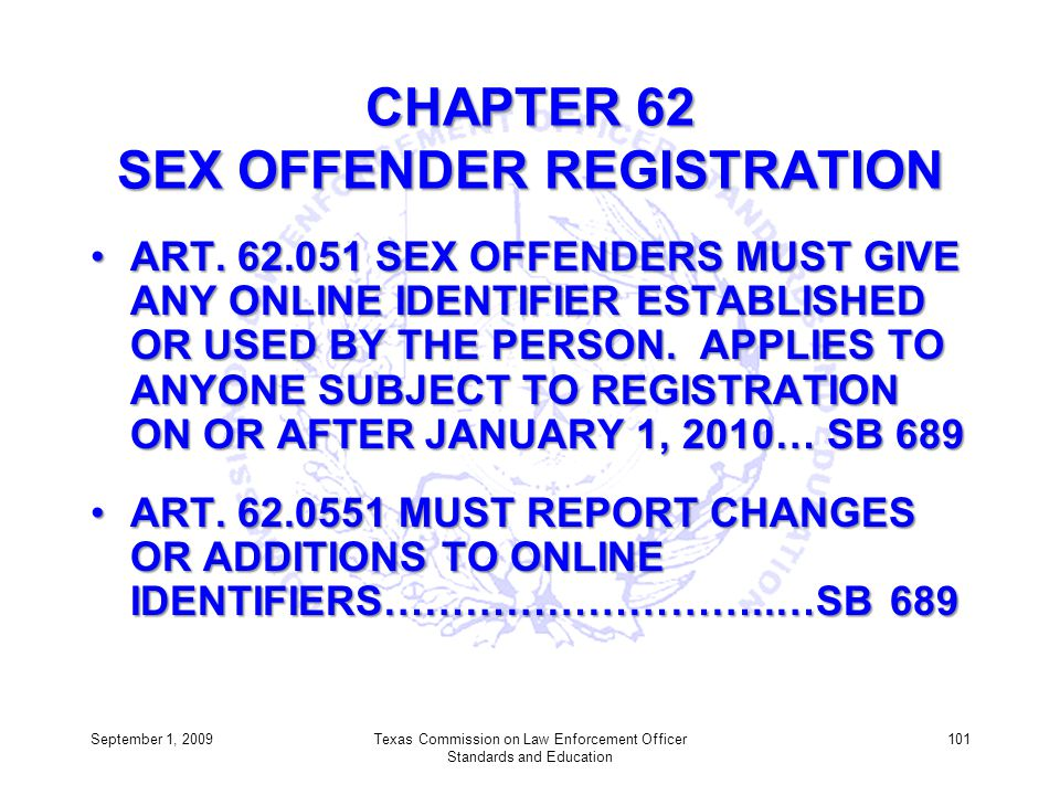 CHAPTER 62 SEX OFFENDER REGISTRATION ART. 62.051 SEX OFFENDERS MUST GIVE ANY ONLINE IDENTIFIER ESTABLISHED OR USED BY THE PERSON. APPLIES TO ANYONE SU