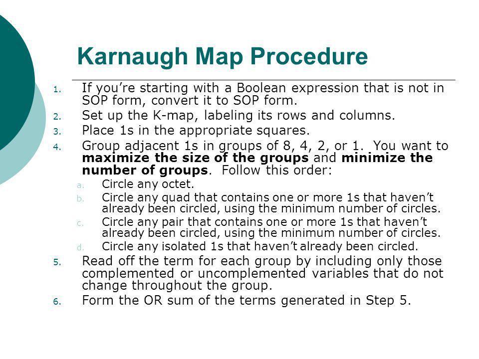 Floyd, Digital Fundamentals, 10 th ed Karnaugh Map Procedure 1.