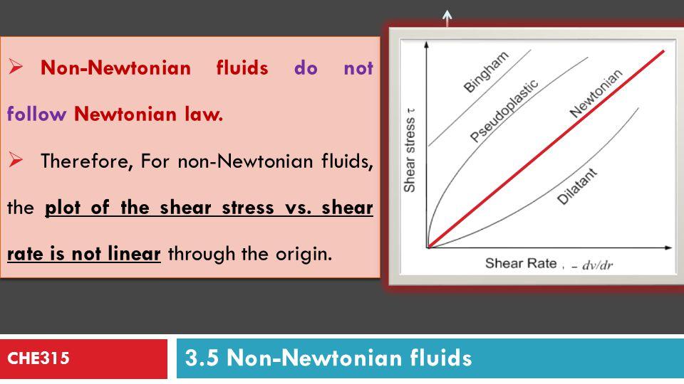 CHE315 For Newtonian fluids: = ½ for laminar flow. For power-law non-Newtonian fluids: