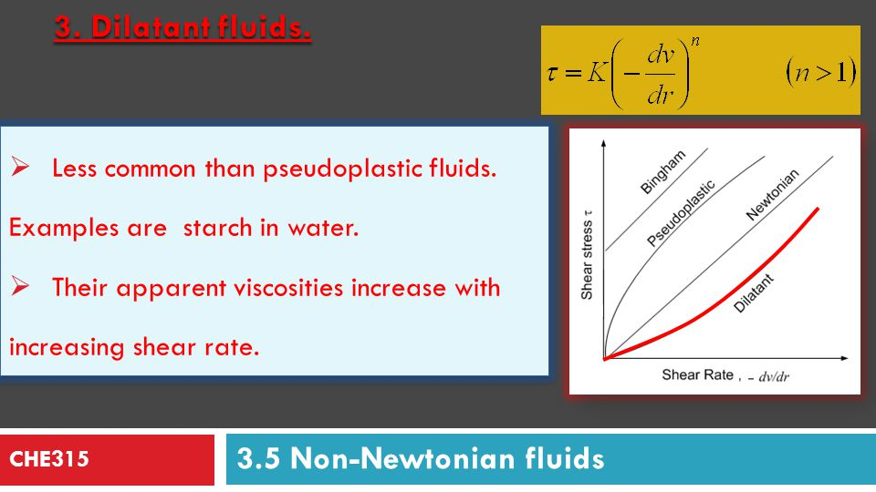 CHE315 Task: Study with your group the following: Bingham Fluids Pseudoplastic Fluids Dilatant Fluids Hint Questions: 1.Which mathematical model can represent each type of fluids 2.What is the relation between shear rate and viscosity for each type.