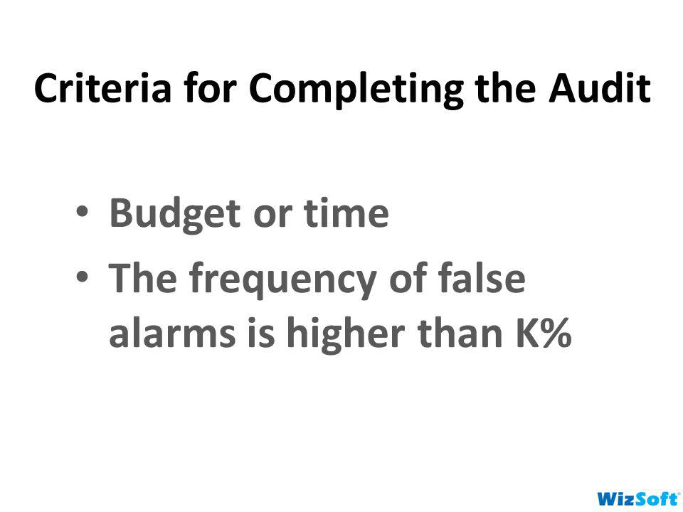 Criteria for Completing the Audit Budget or time The frequency of false alarms is higher than K%