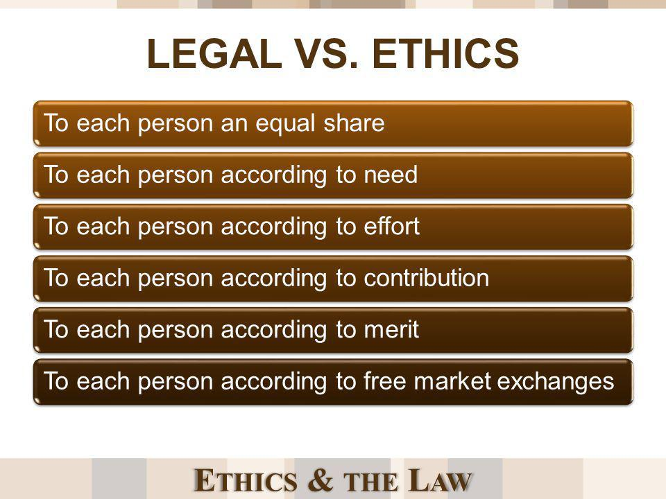 E THICS & THE L AW WHY ETHICS AND NOT JUST THE LAW New ethical problems ariseTechnology advancesSocietal expectations changeScience evolves Ethical problems not anticipated by existing codes of conduct are not explicitly stated in laws or rules