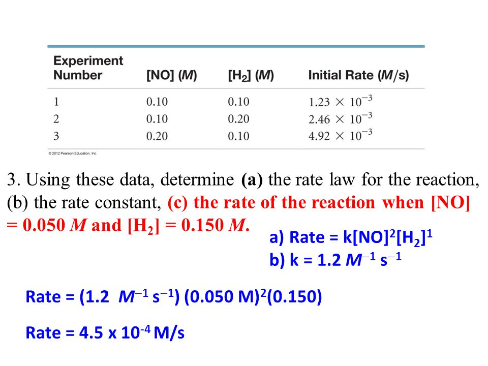 3. Using these data, determine (a) the rate law for the reaction, (b) the rate constant, (c) the rate of the reaction when [NO] = 0.050 M and [H 2 ] =