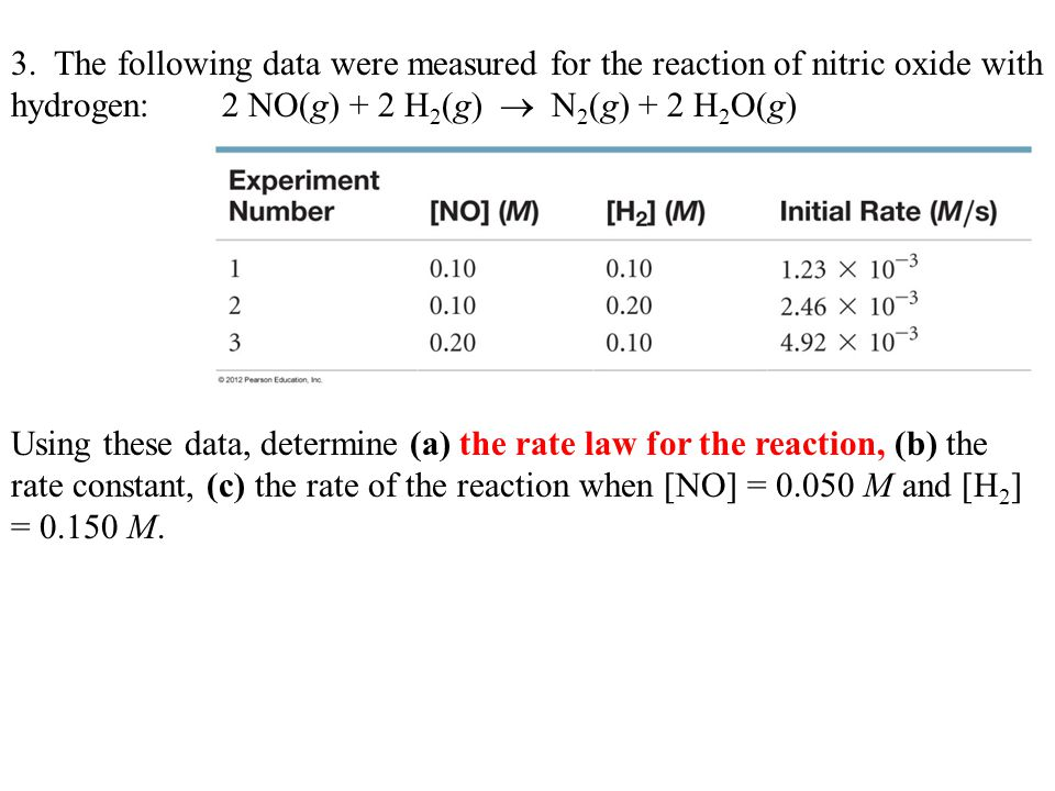 3.Using these data, determine (a) the rate law for the reaction Exp.