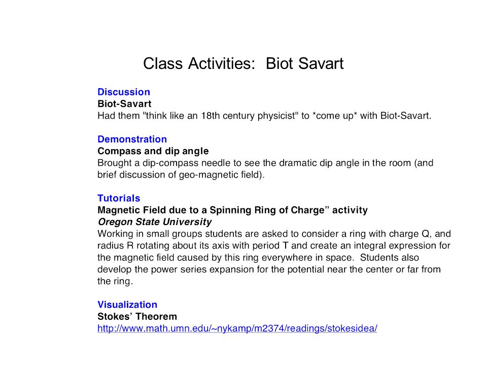 Class Activities: Biot Savart