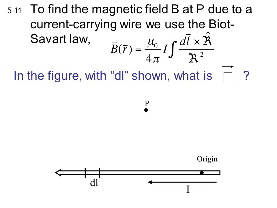 To find the magnetic field B due to a current-carrying loop, we use the Biot- Savart law, What is dB z (the contribution to the vertical component of B from this dl segment?) A) B) C) D) E) Something quite different.