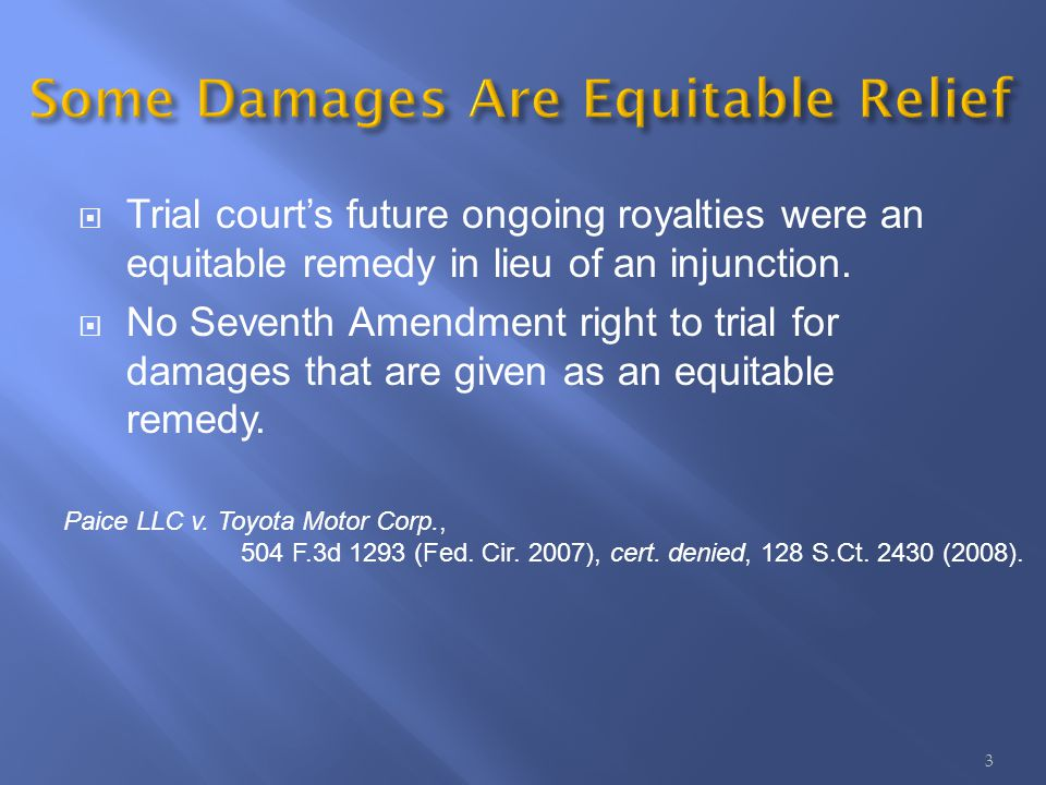 Trial courts future ongoing royalties were an equitable remedy in lieu of an injunction.