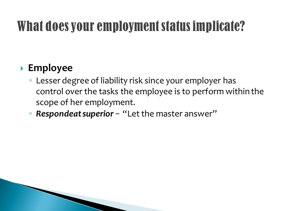 Employee Lesser degree of liability risk since your employer has control over the tasks the employee is to perform within the scope of her employment.