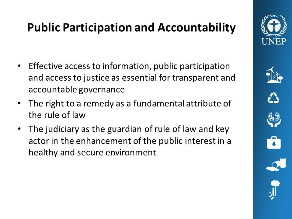Public Participation and Accountability Effective access to information, public participation and access to justice as essential for transparent and accountable governance The right to a remedy as a fundamental attribute of the rule of law The judiciary as the guardian of rule of law and key actor in the enhancement of the public interest in a healthy and secure environment