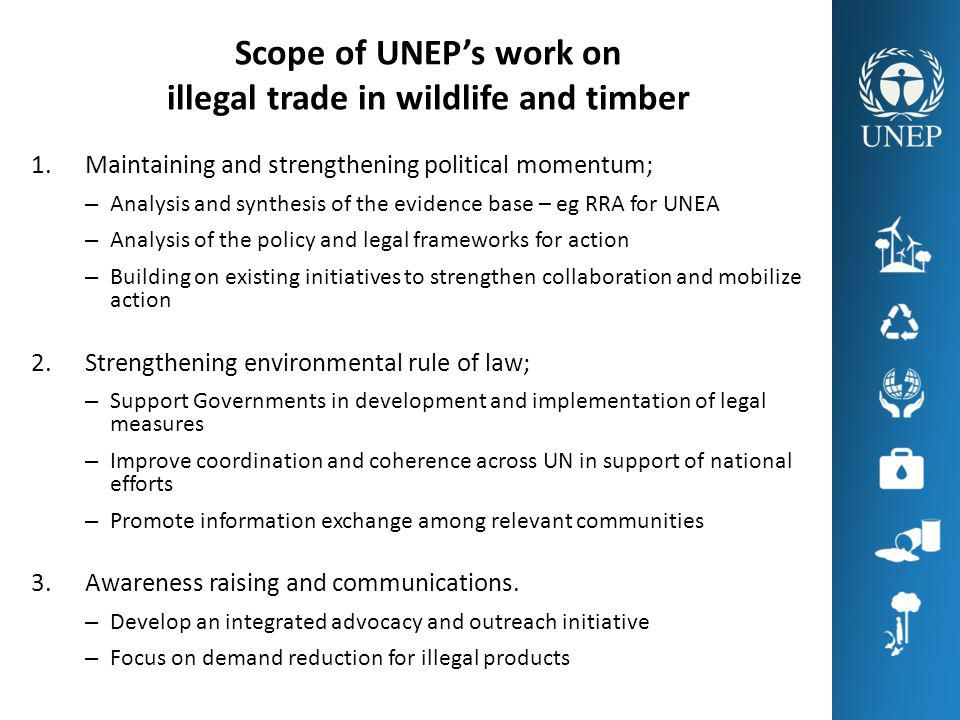 Scope of UNEPs work on illegal trade in wildlife and timber 1.Maintaining and strengthening political momentum; – Analysis and synthesis of the eviden