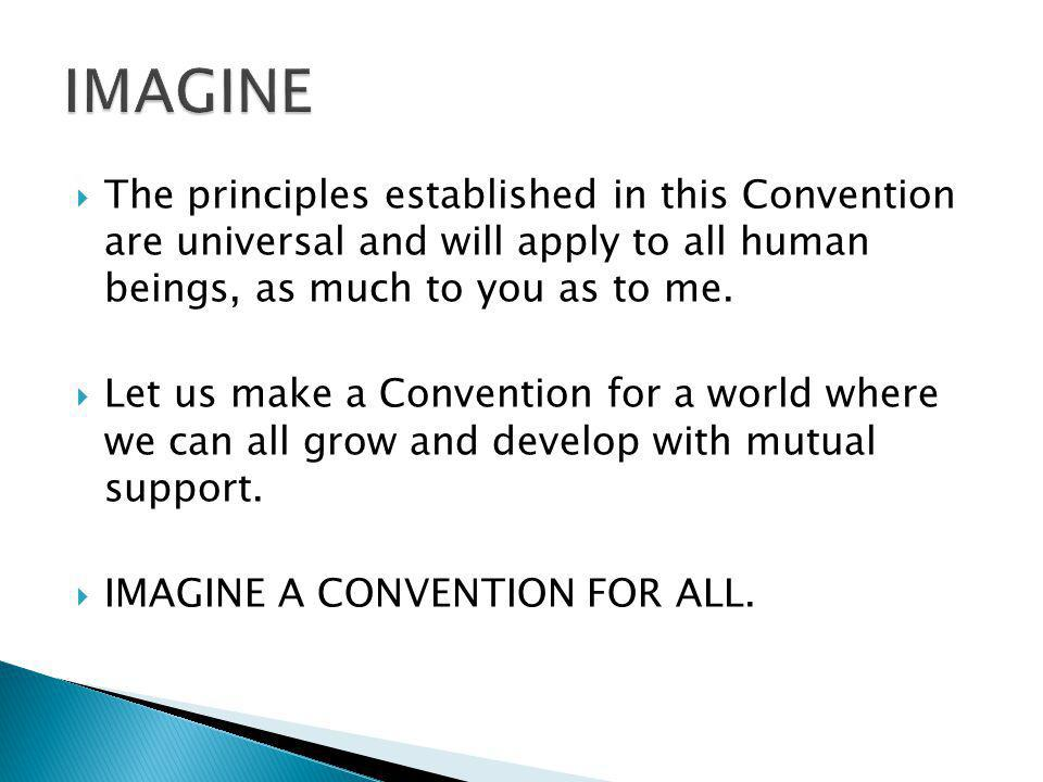 The principles established in this Convention are universal and will apply to all human beings, as much to you as to me. Let us make a Convention for