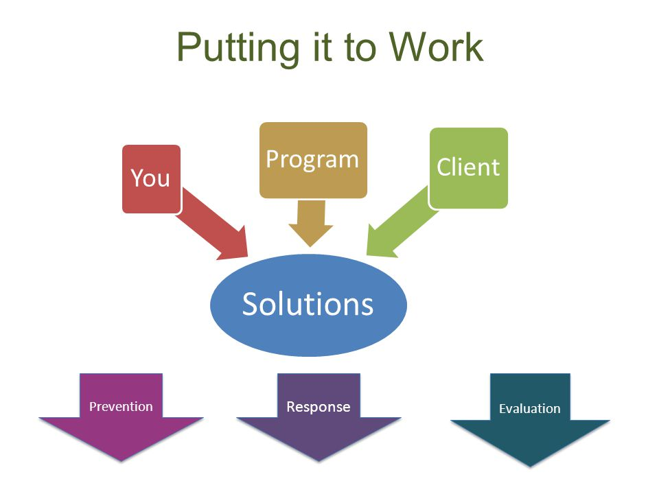 Putting it to Work Solutions You Program Client Evaluation Prevention Response