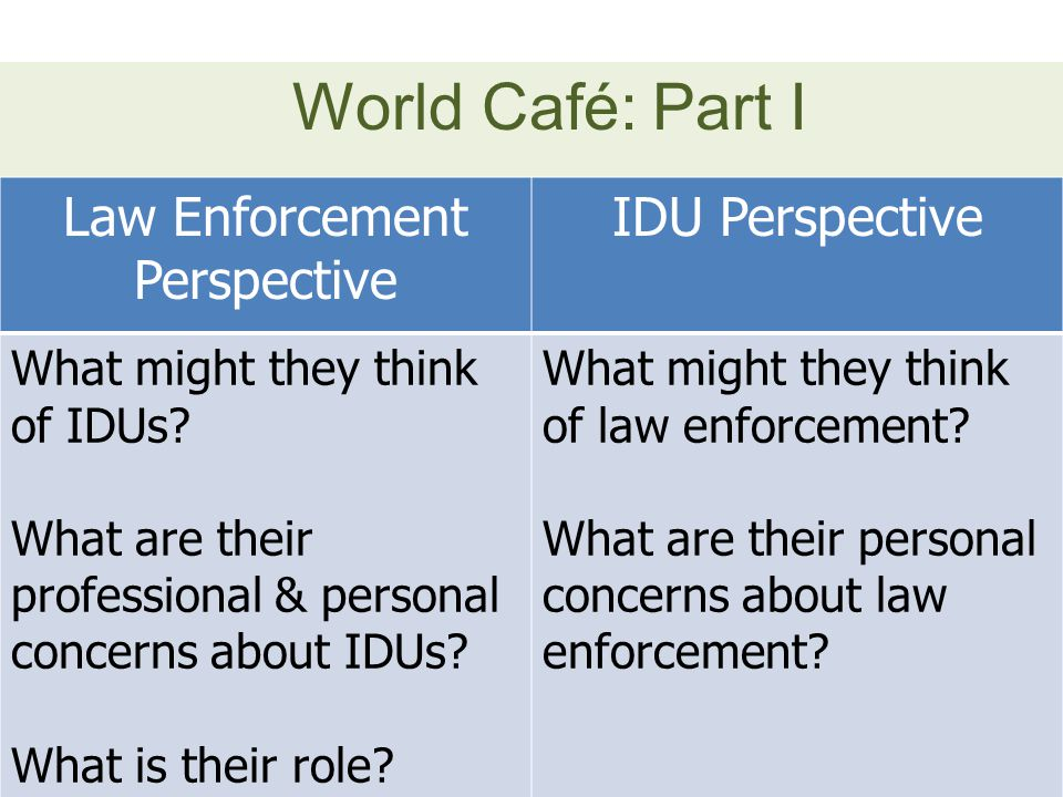 World Café: Part I Law Enforcement Perspective IDU Perspective What might they think of IDUs? What are their professional & personal concerns about ID