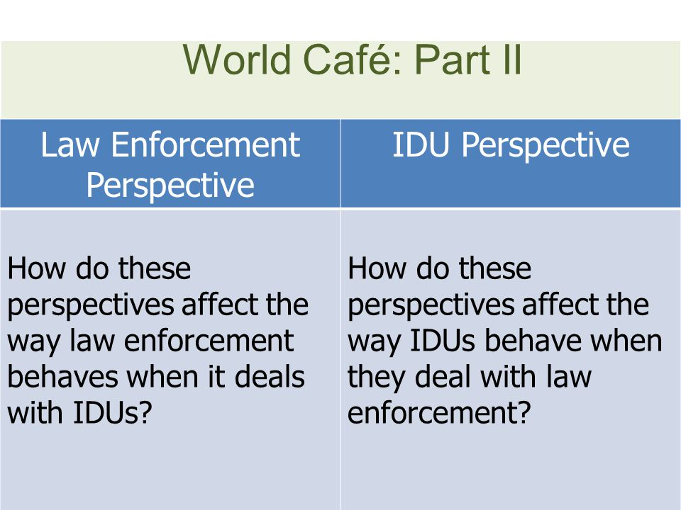 World Café: Part II Law Enforcement Perspective IDU Perspective How do these perspectives affect the way law enforcement behaves when it deals with IDUs.