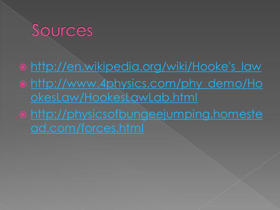 http://en.wikipedia.org/wiki/Hooke s_law http://www.4physics.com/phy_demo/Ho okesLaw/HookesLawLab.html http://www.4physics.com/phy_demo/Ho okesLaw/HookesLawLab.html http://physicsofbungeejumping.homeste ad.com/forces.html http://physicsofbungeejumping.homeste ad.com/forces.html