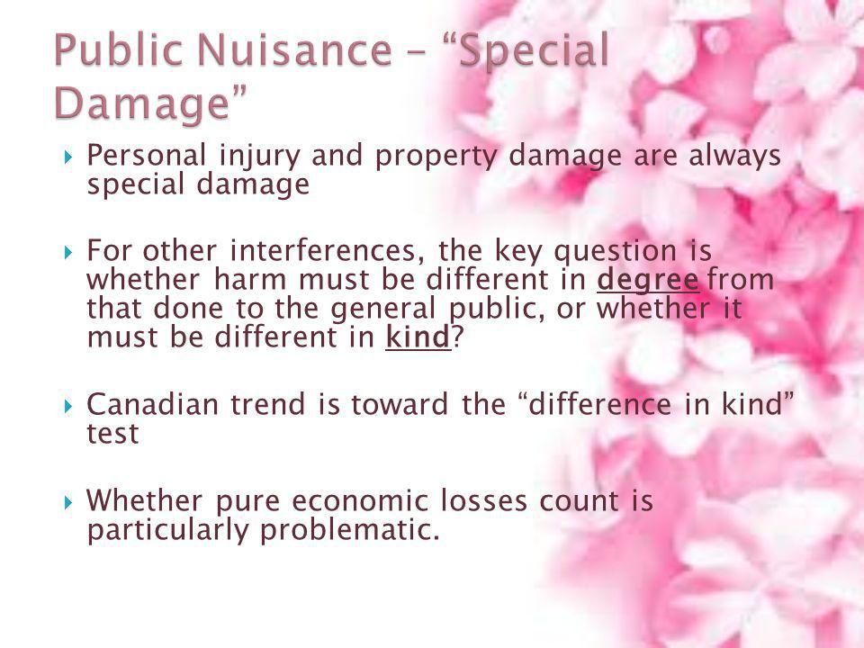 Personal injury and property damage are always special damage For other interferences, the key question is whether harm must be different in degree fr
