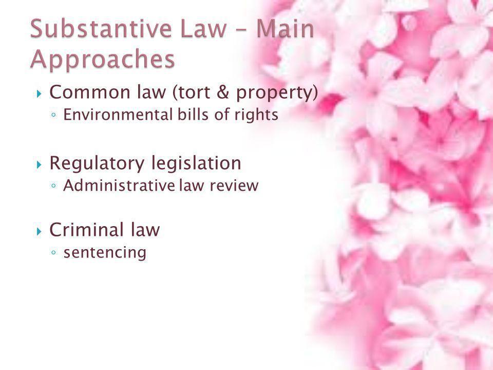 Common law (tort & property) Environmental bills of rights Regulatory legislation Administrative law review Criminal law sentencing
