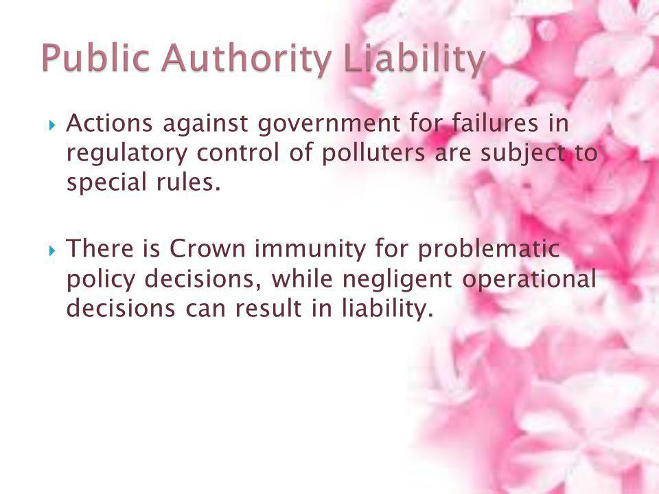 Actions against government for failures in regulatory control of polluters are subject to special rules. There is Crown immunity for problematic polic