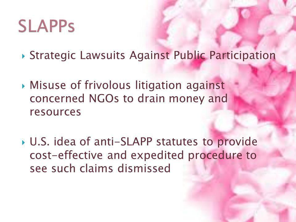 Strategic Lawsuits Against Public Participation Misuse of frivolous litigation against concerned NGOs to drain money and resources U.S. idea of anti-S