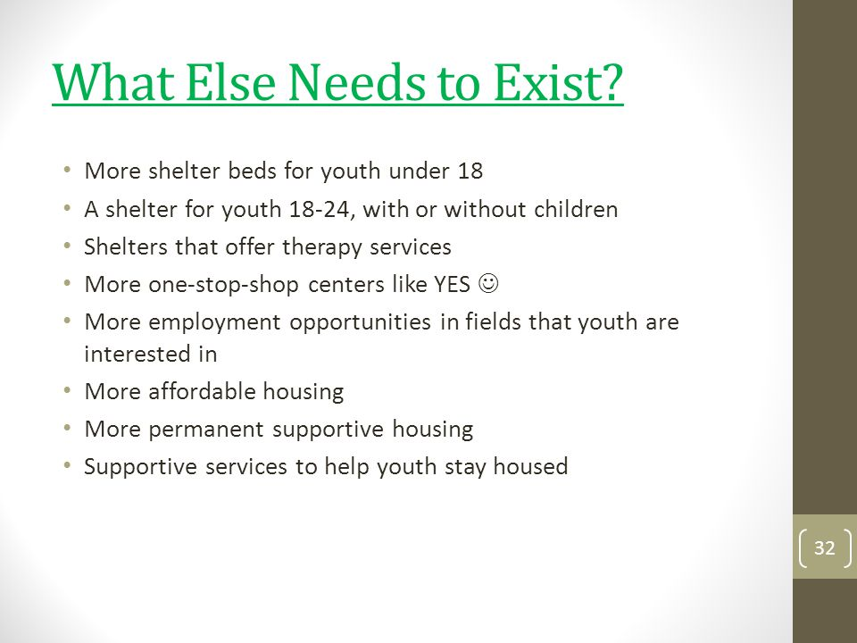 What Else Needs to Exist? More shelter beds for youth under 18 A shelter for youth 18-24, with or without children Shelters that offer therapy service